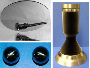 Top left, mirror fabricated entirely by CVD of silicon carbide foam with a polished silicon carbide facesheet; bottom left, rhenium-coated graphite spheres; right, iridium-lined rhenium thrust chamber with niobium flanges, all fabricated by CVD.