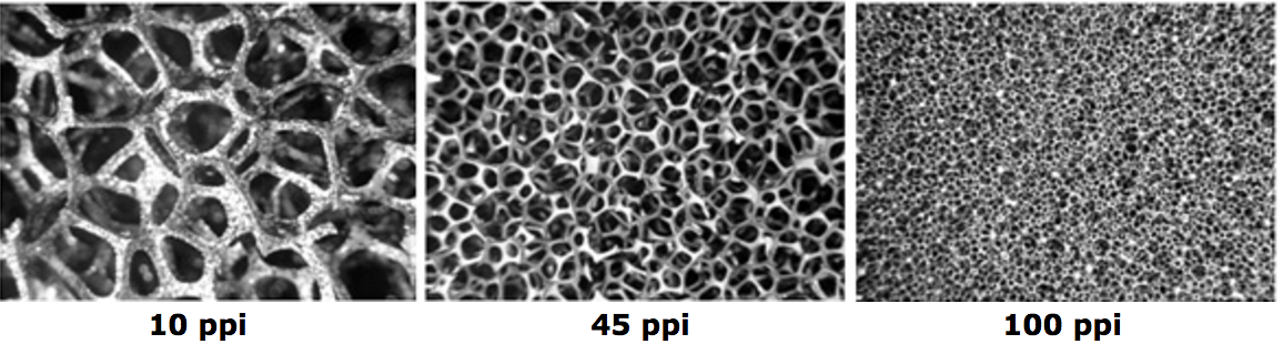 Three samples of RVC foam showing pore structure at different pore sizes (all ~10×)