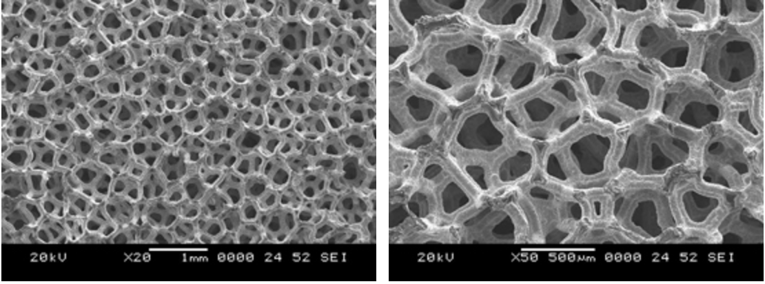 Open-cell silicon carbide foam showing uniform pore structure