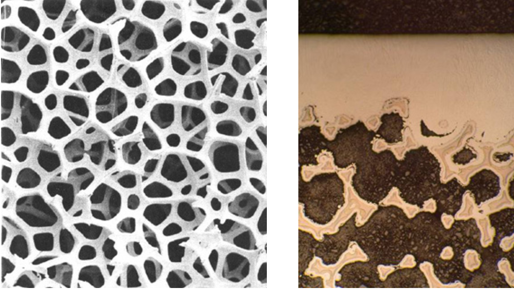 Left, low-density, high-stiffness silicon carbide foam structural support (50×); right, cross-section of silicon carbide mirror surface (top) applied over silicon carbide foam (bottom).