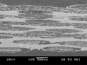 SEM image of two-dimensional orthogonal weave carbon fabric layup reinforcement, illustrating a representative CMC microstructure