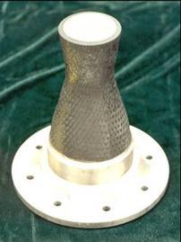 Iridium/rhenium-carbon/carbon chamber with niobium injector flange