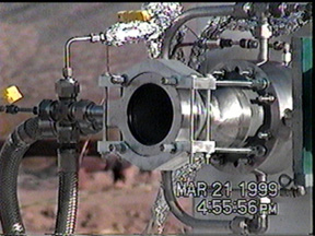 Hot-fire testing of Ultramet regeneratively cooled foam core combustion chamber with oxygen/hydrogen at the Mohave Test Area (Mojave, CA)