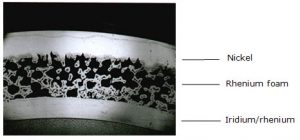 Cross-section of regeneratively cooled foam core combustion chamber showing rhenium foam through which fuel flows