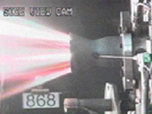 Ultramet carbon fiber-reinforced zirconium carbide combustion chamber during 4350ºF (2400ºC) hot-fire testing at NASA Glenn