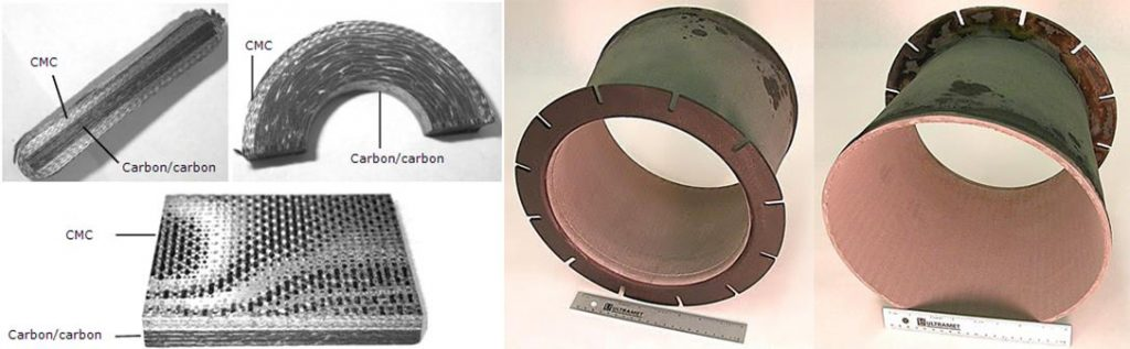 "CMC-lined carbon/carbon development specimens (left) and carbon/carbon nozzle (right; ID liner; 13"" max. dia.) for reduced component weight"