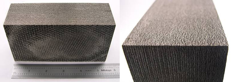 "Example of 2.5"" thick C/ZrC composite fabricated by melt-infiltration. Panels up to 14"" square x 3"" thick have been produced"