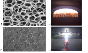 Open-cell carbon foam before (A) and after (B) infiltration with phenolic/chopped fiber ablator and typical specimen during NASA ARC arcjet test (up to 2203 W/cm2 heat flux) (C-D)