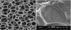 Unfilled 97% porous carbon foam skeletal structure before aerogel infiltration (left) and single foam cell after complete infiltration with carbon aerogel (right)