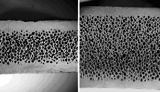 Foam-core sandwich structure in which fully dense silicon carbide facesheets are integrally bonded to 80-90 vol% porous, open-cell silicon carbide foam (both 5x). Refractory metal foam/facesheet structures are also feasible.